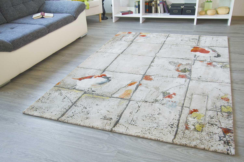 Designer teppich modern garden vogel flower beige grau rot grün