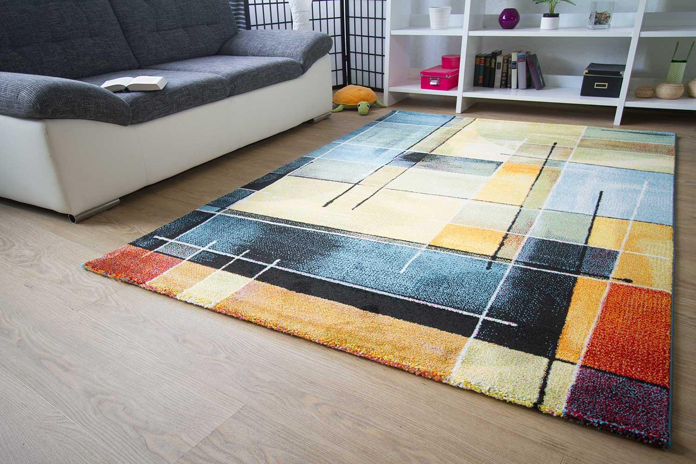 designer teppich modern modena karo muster rot orange schwarz braun beige neu ebay. Black Bedroom Furniture Sets. Home Design Ideas