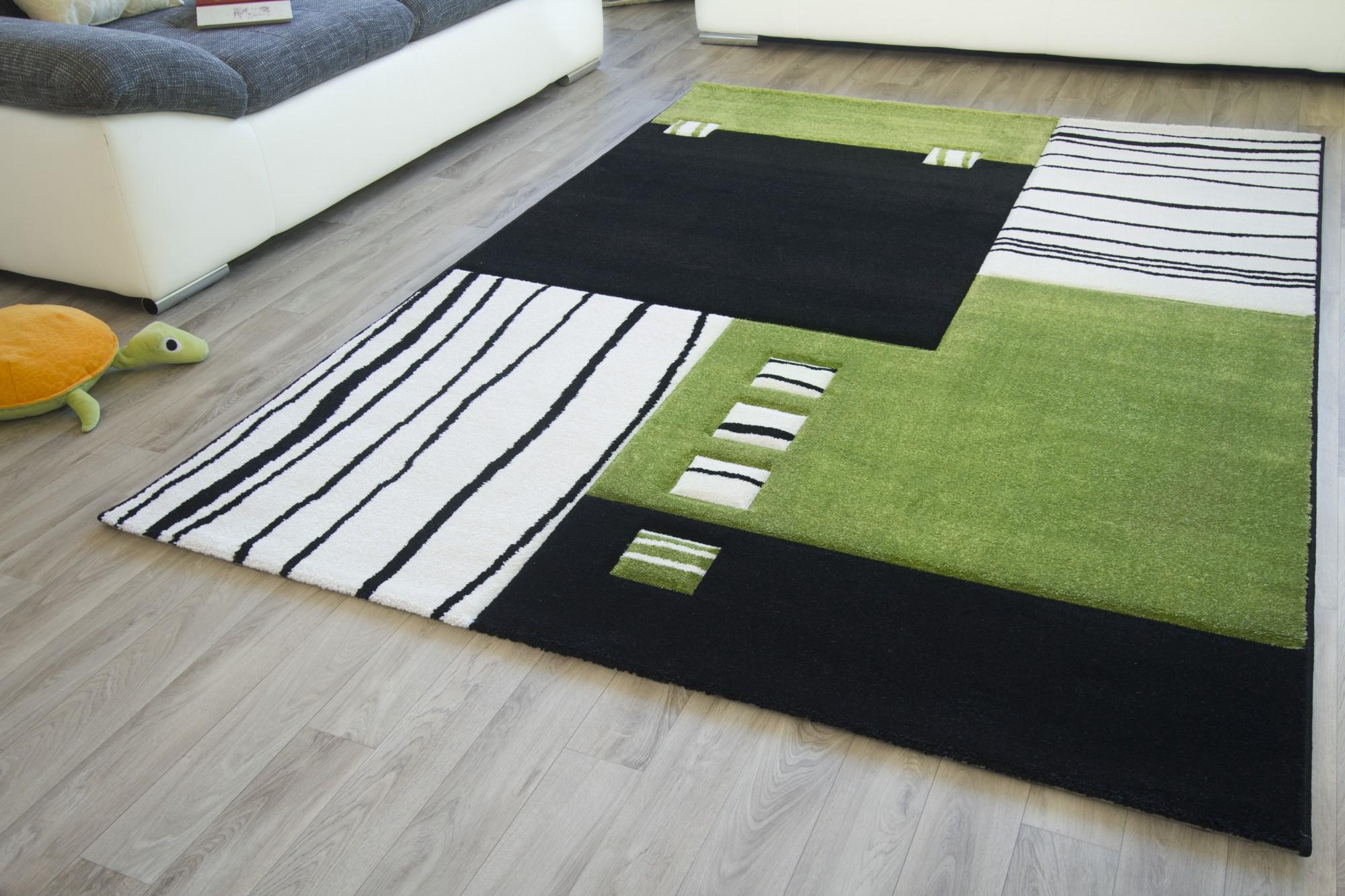 Designer teppich modern ancona felder muster rot orange grau grün