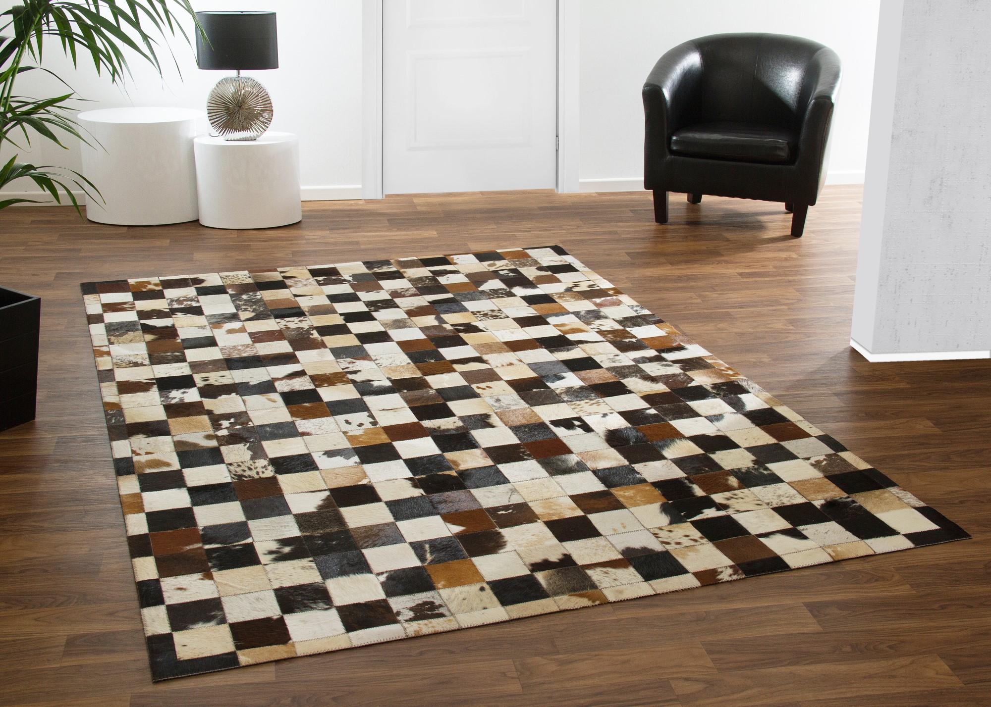 designer teppich modern buffalo kuhfell streifen karo natur patch ebay. Black Bedroom Furniture Sets. Home Design Ideas