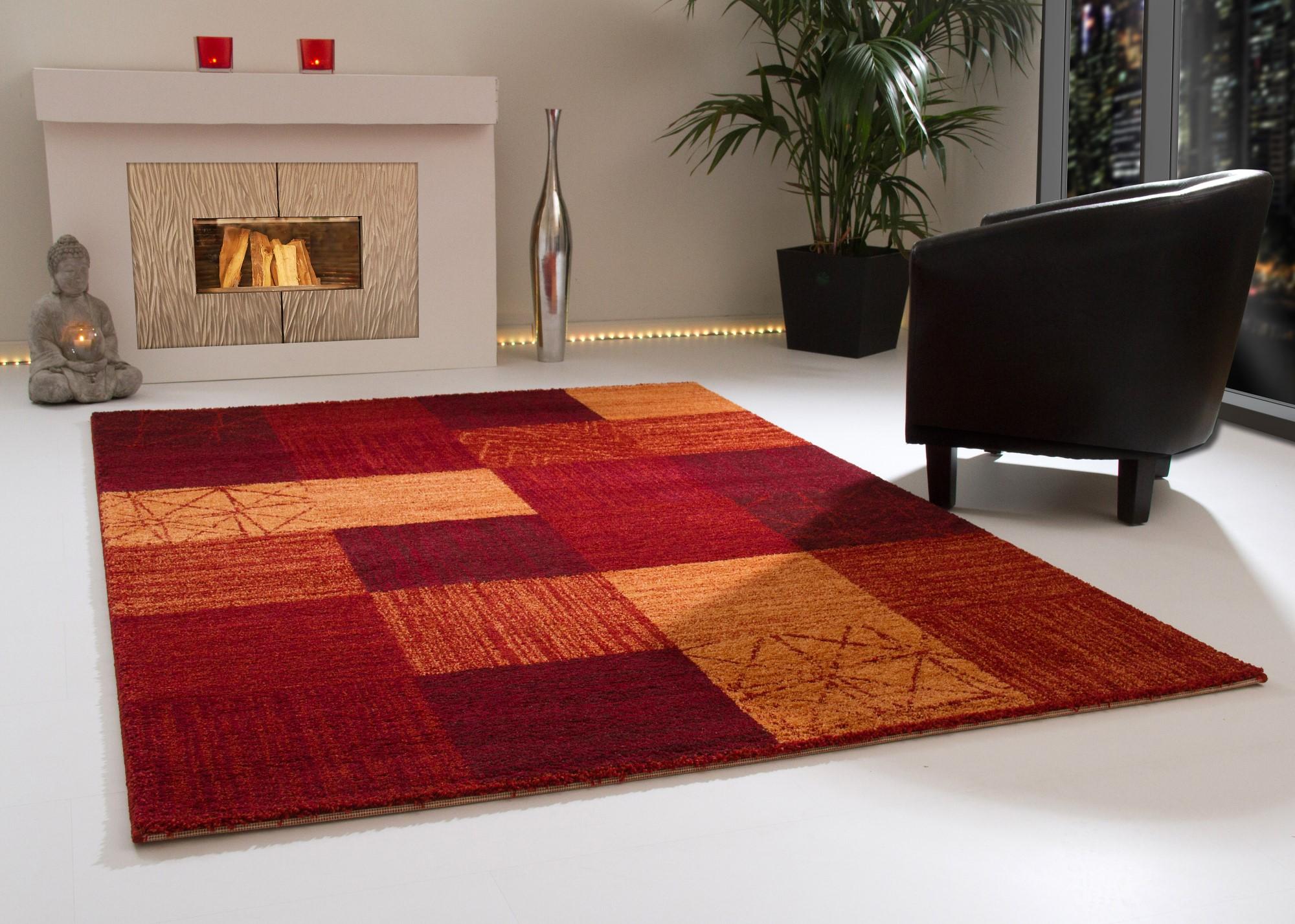Designer Teppich Modern Dijon Kuschelflor Creme Rot Grau Beige Braun