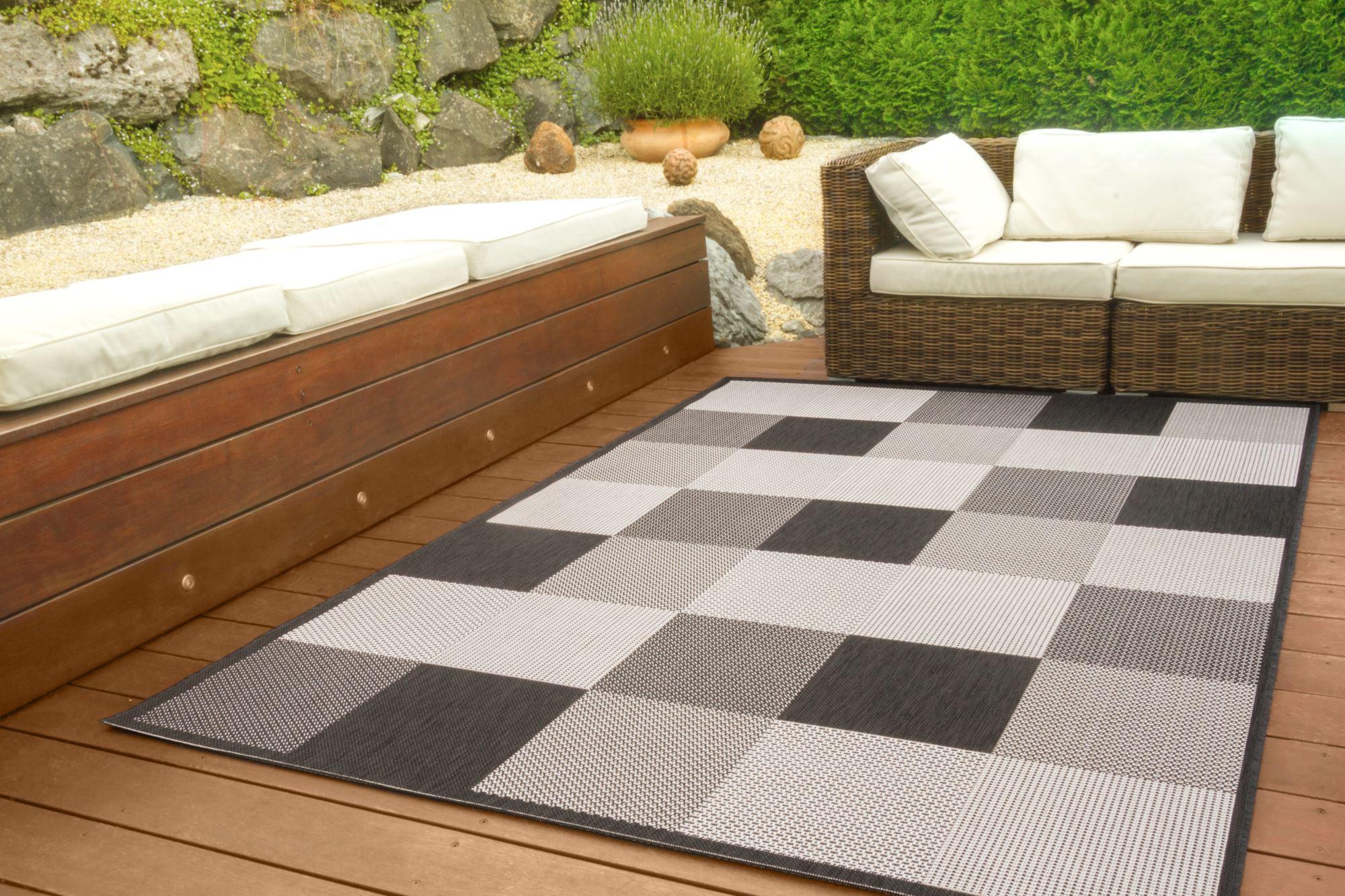 in und outdoor teppich halland design sisal optik karo ebay. Black Bedroom Furniture Sets. Home Design Ideas