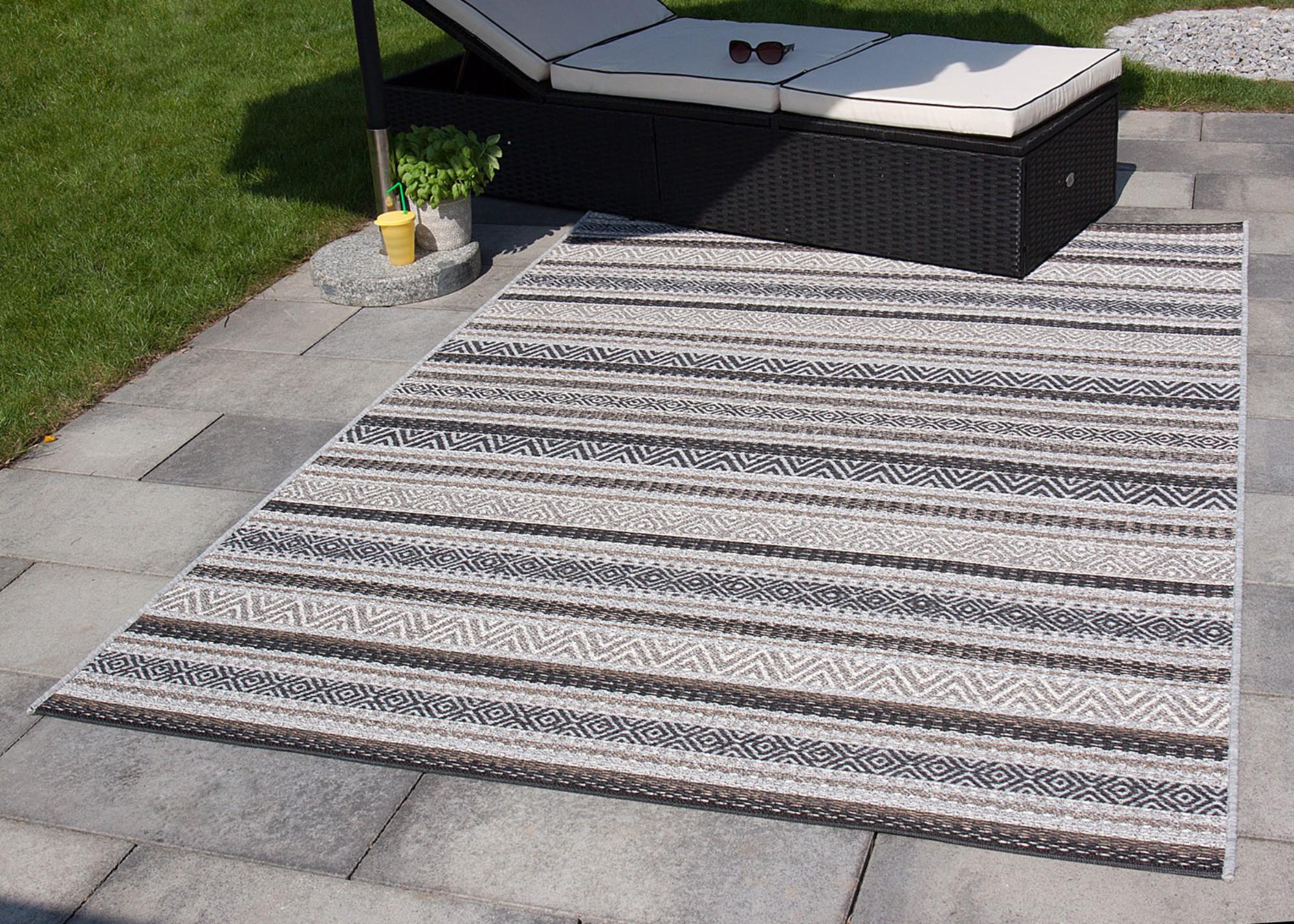 in outdoor teppich varberg beige blau grau gr n t rkis balkon kunststoff ebay. Black Bedroom Furniture Sets. Home Design Ideas