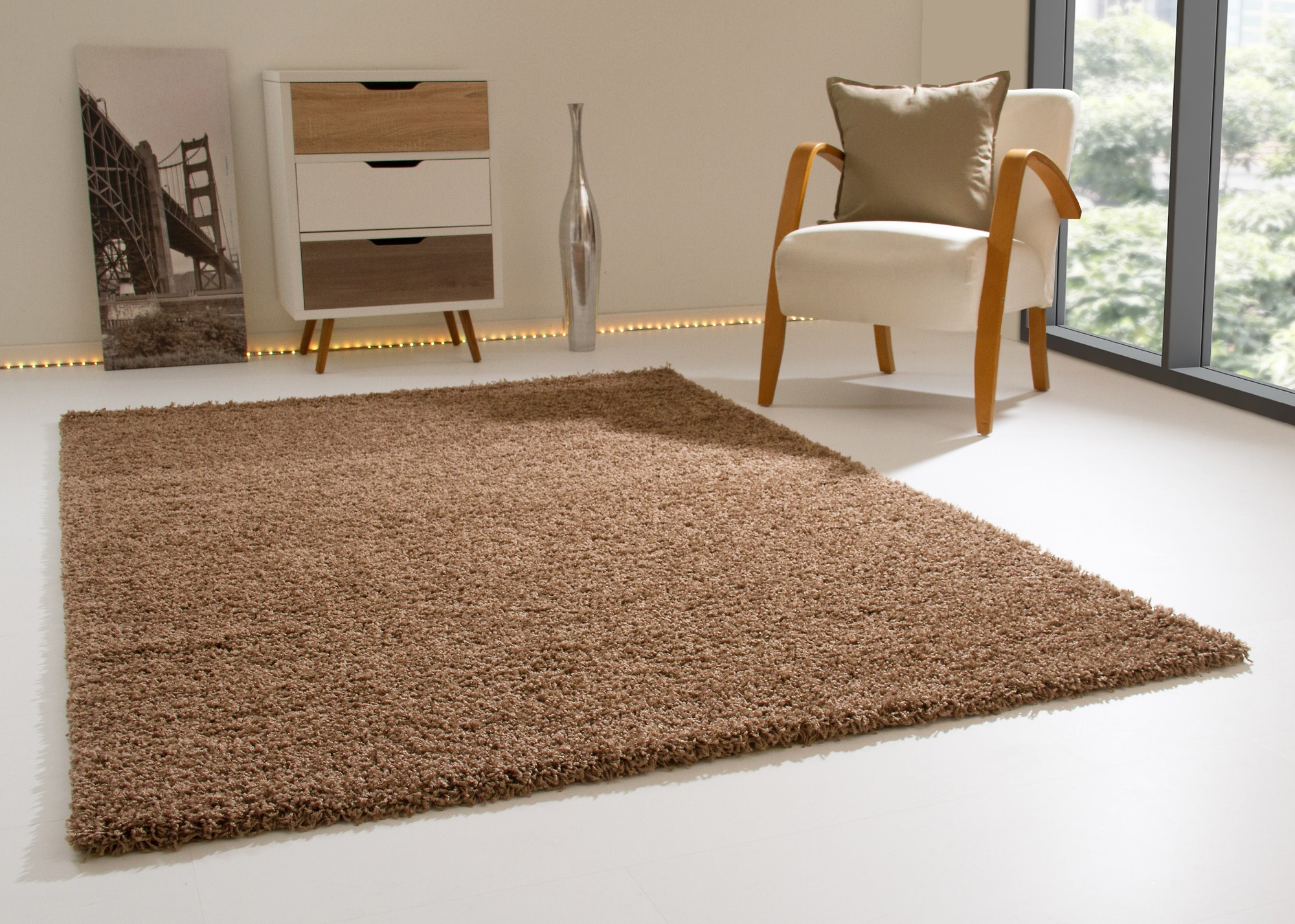 langflor hochflor teppich happy kuschel shaggy uni in vielen gr en neu ebay. Black Bedroom Furniture Sets. Home Design Ideas