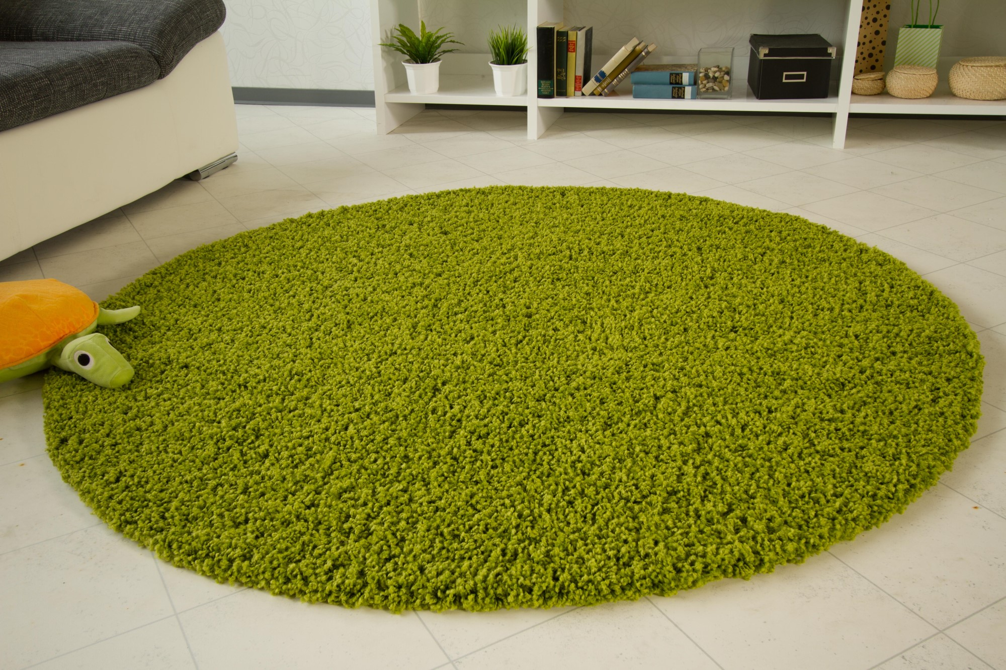 shaggy langflor hochflor teppich funny gr n neu ebay. Black Bedroom Furniture Sets. Home Design Ideas