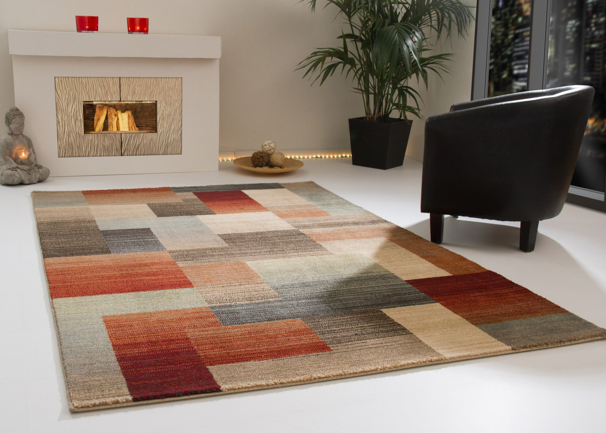 NEW MODERN RUG DERBY FIELDS SQUARES BROWN GREY RED COLOURFUL | eBay
