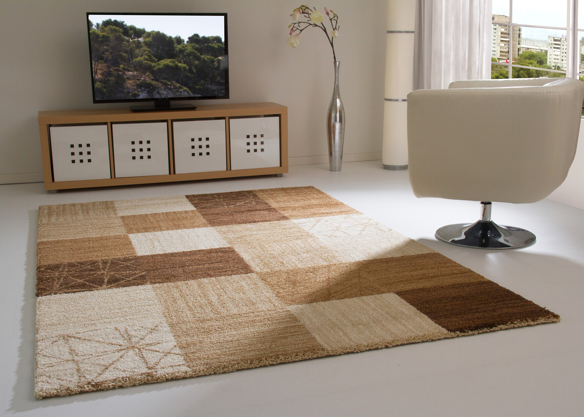 NEW MODERN RUG DIJON SOFT AND COSY PILE CREAM RED GREY BROWN ORANGE ...