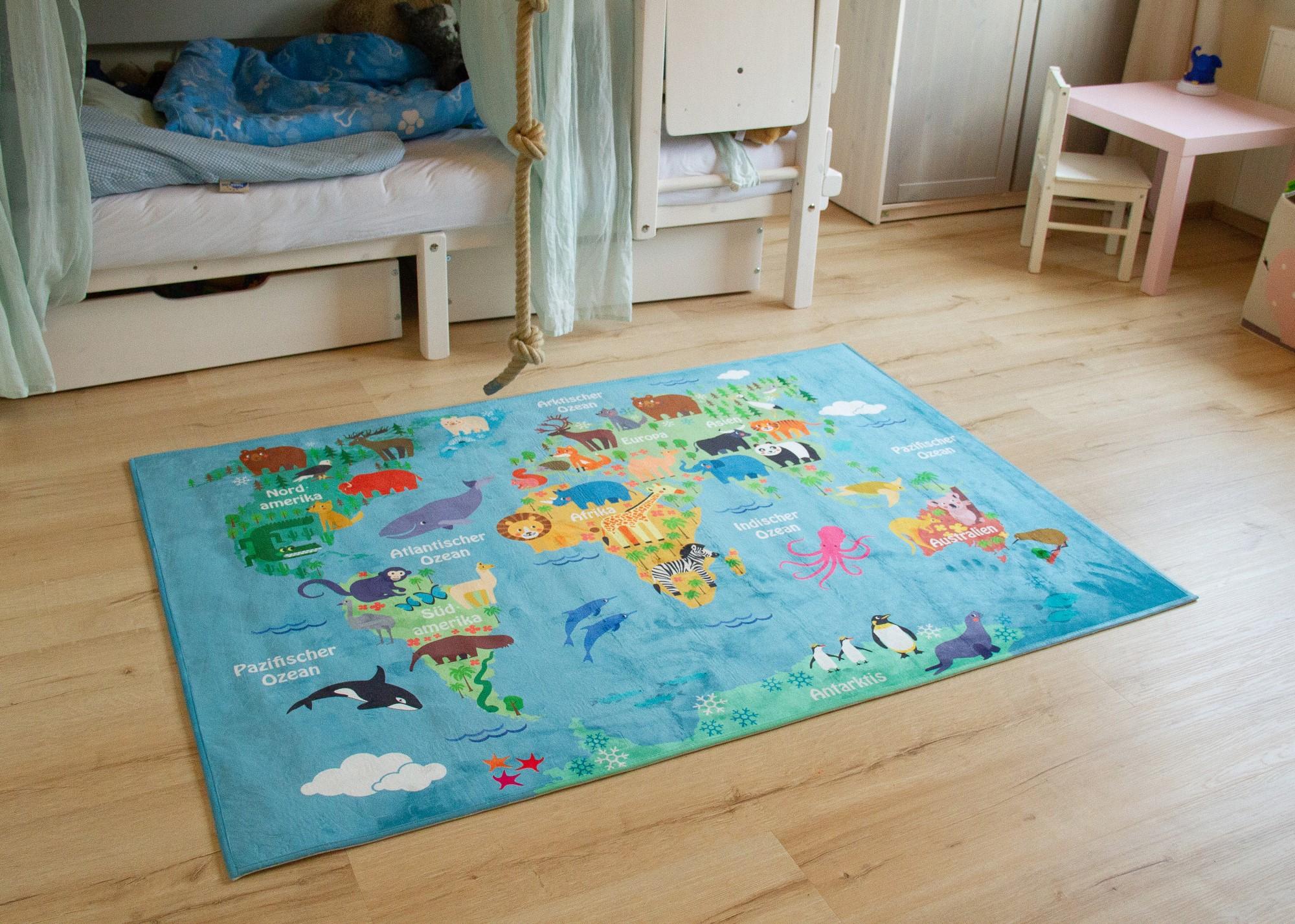 Kids Rug World Map Bedroom Blue Multicolour Boys Girls Ebay