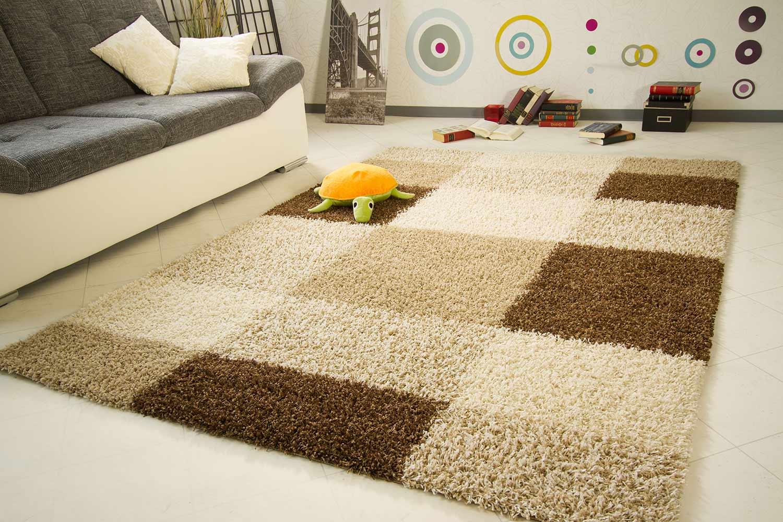 hochflor teppich funny design karo. Black Bedroom Furniture Sets. Home Design Ideas