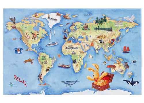 Kinderteppich Felix - Weltkarte