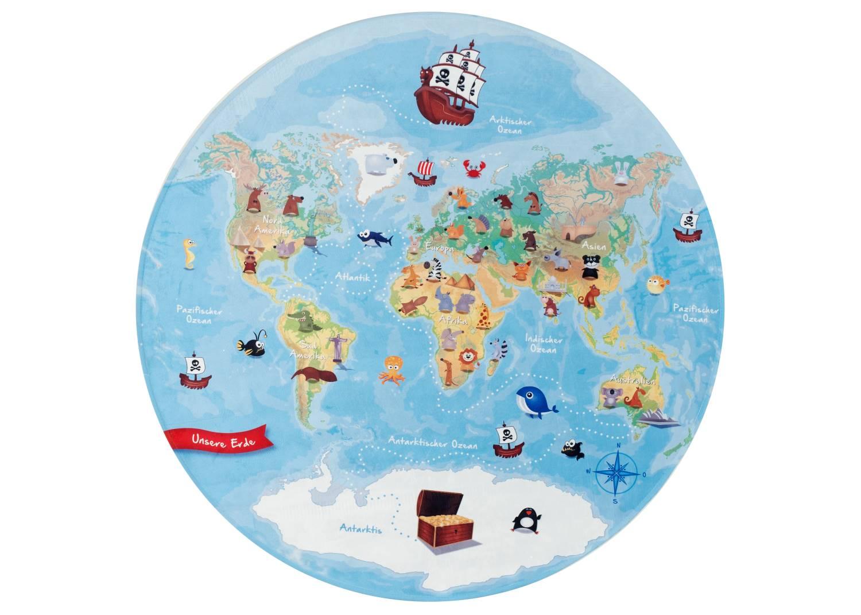 Kinderteppich Lovely Kids - Weltkarte rund