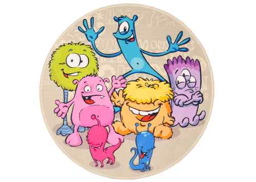 Kinderteppich Lovely Kids - Monster rund
