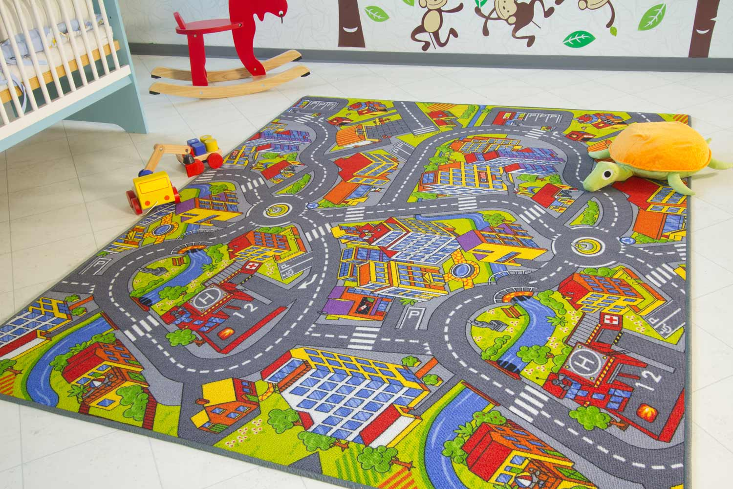 kinderteppich city stra en und spielteppich global carpet. Black Bedroom Furniture Sets. Home Design Ideas