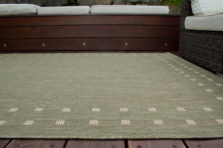 In und Outdoor Teppich Gotland Design  Bordüre Kästchen