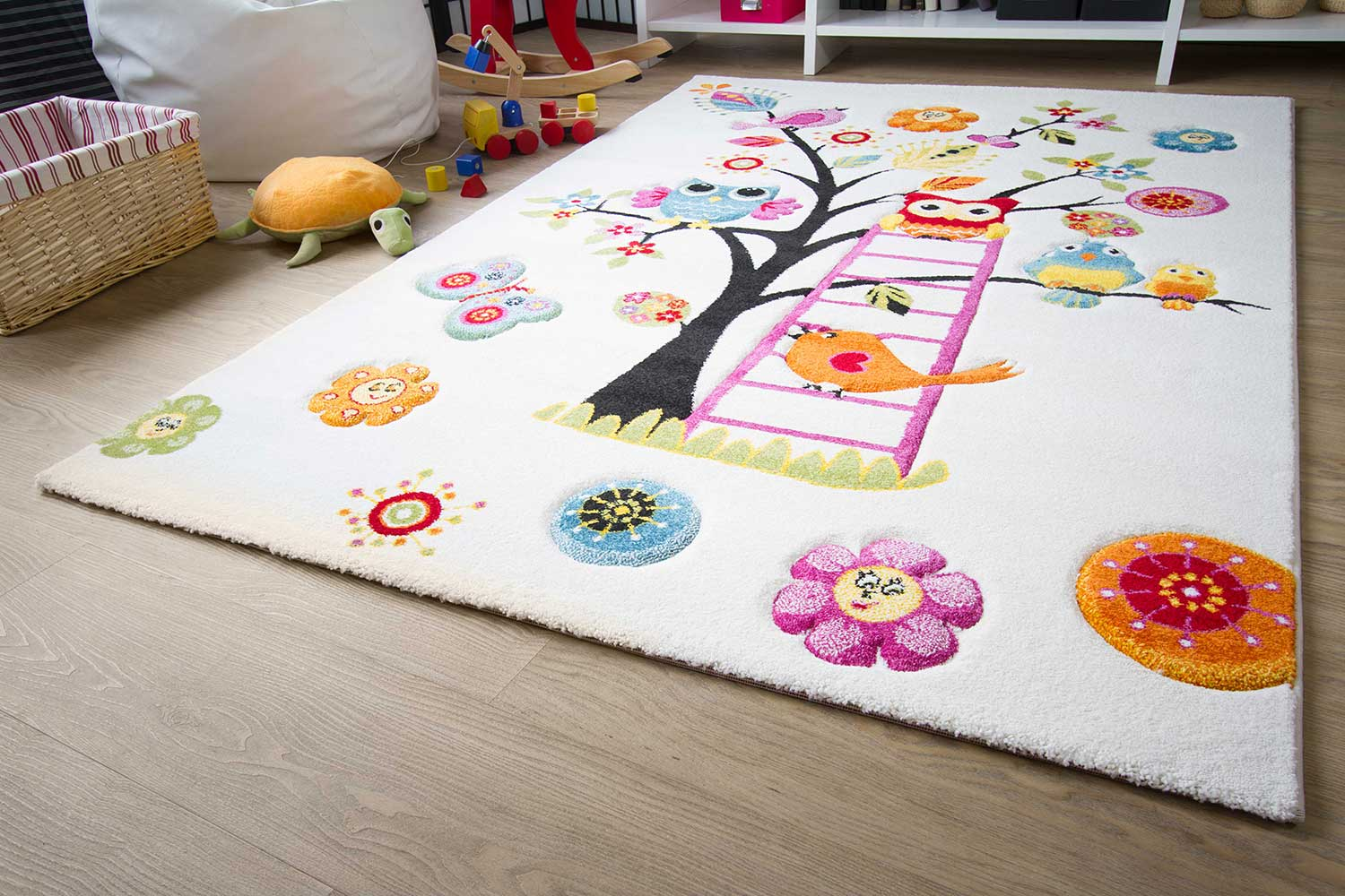 Kinderteppich eule rosa  Kinderteppich Little Carpet - Vogel Theo | global-carpet